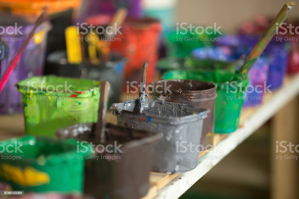Close-up of silk screen printing ink stock photo