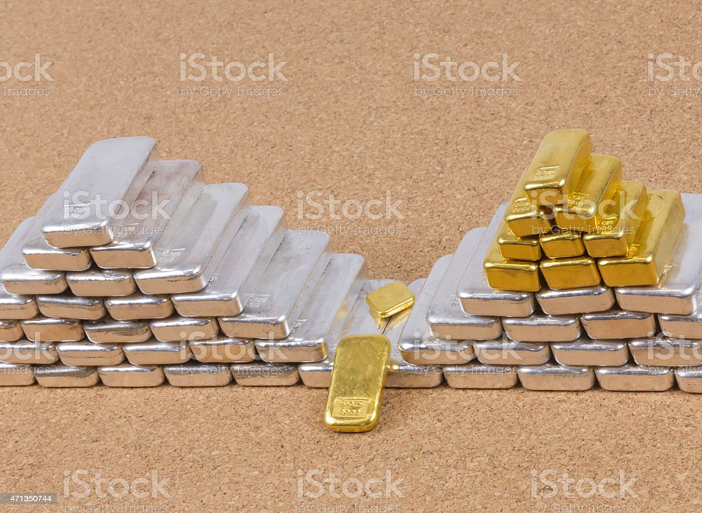 Close-up of Silver and Gold Bars Stacked with Selective Focus stock photo
