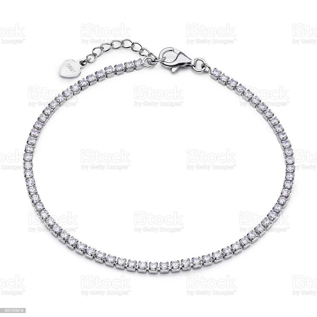 Close-up of silver bracelet with diamonds stock photo