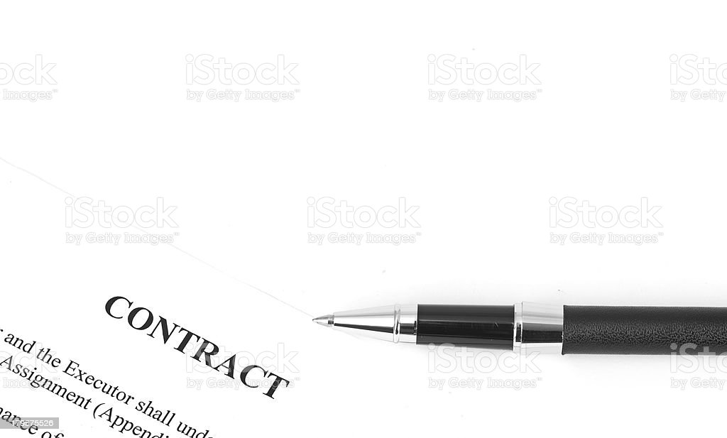 Close-up of silver pen on contract. royalty-free stock photo