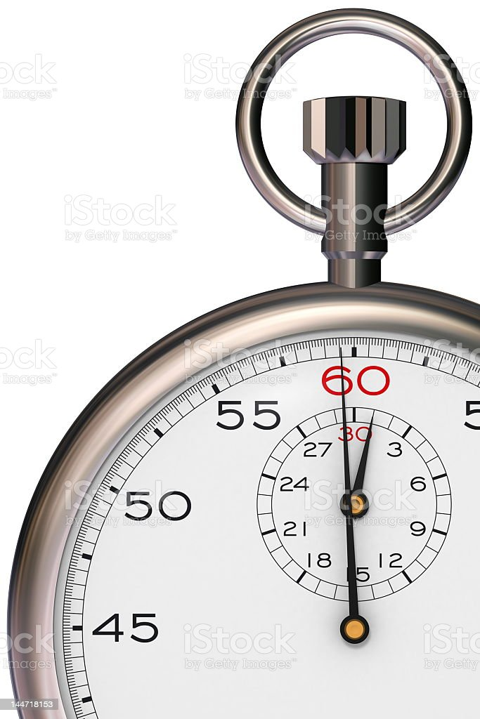 Close-up of silver stopwatch on white background stock photo