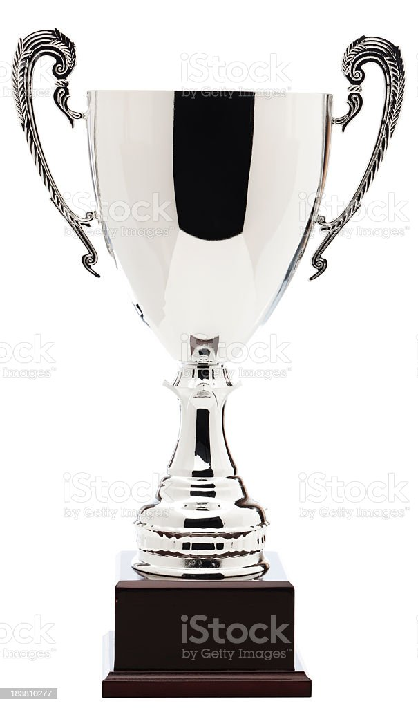 Close-up of silver trophy isolated on white background stock photo