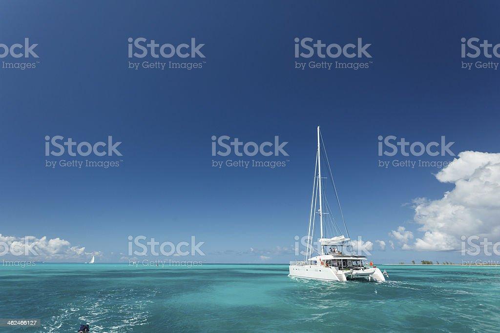 Close-up of single catamaran with tall white mast stock photo