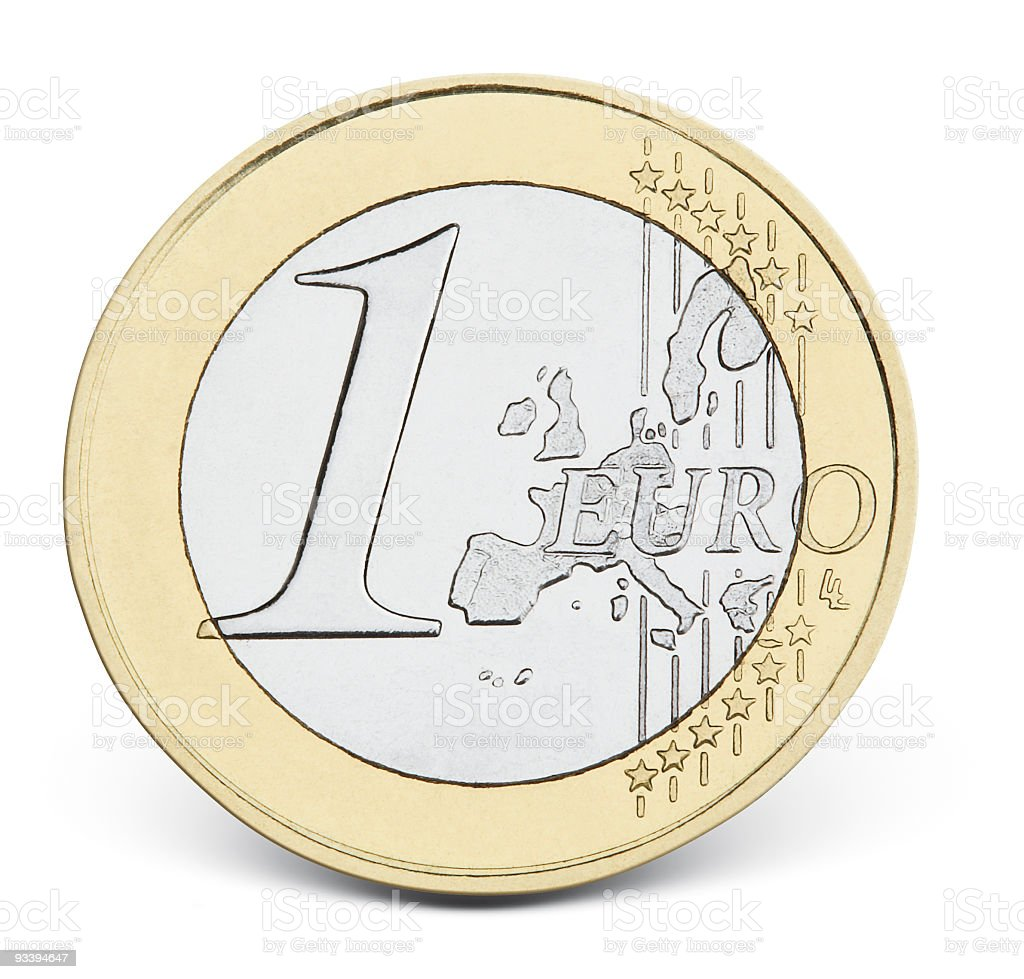 Close-up of single gold and silver Euro currency royalty-free stock photo