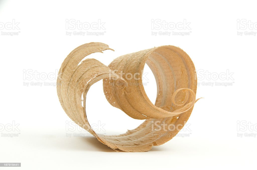 Close-up of Single Wood Shaving/Curl #1-Isolated On White stock photo