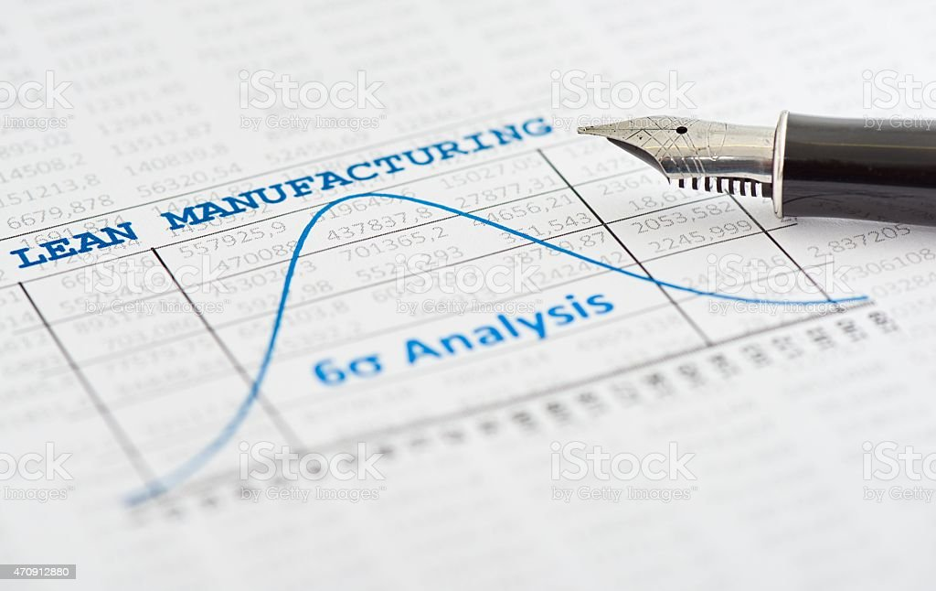 Close-up of Six sigma analysis for lean manufacturing stock photo