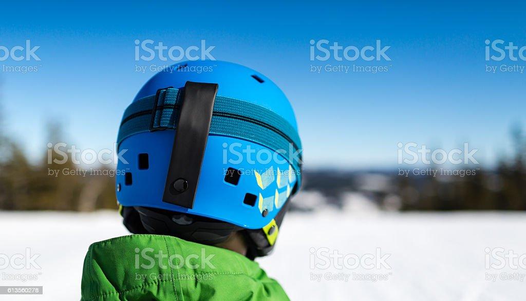 Close-up of ski helmet stock photo