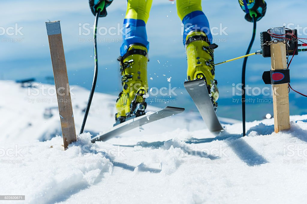 Close-up of Skier Starting the Giant Slalom Race stock photo