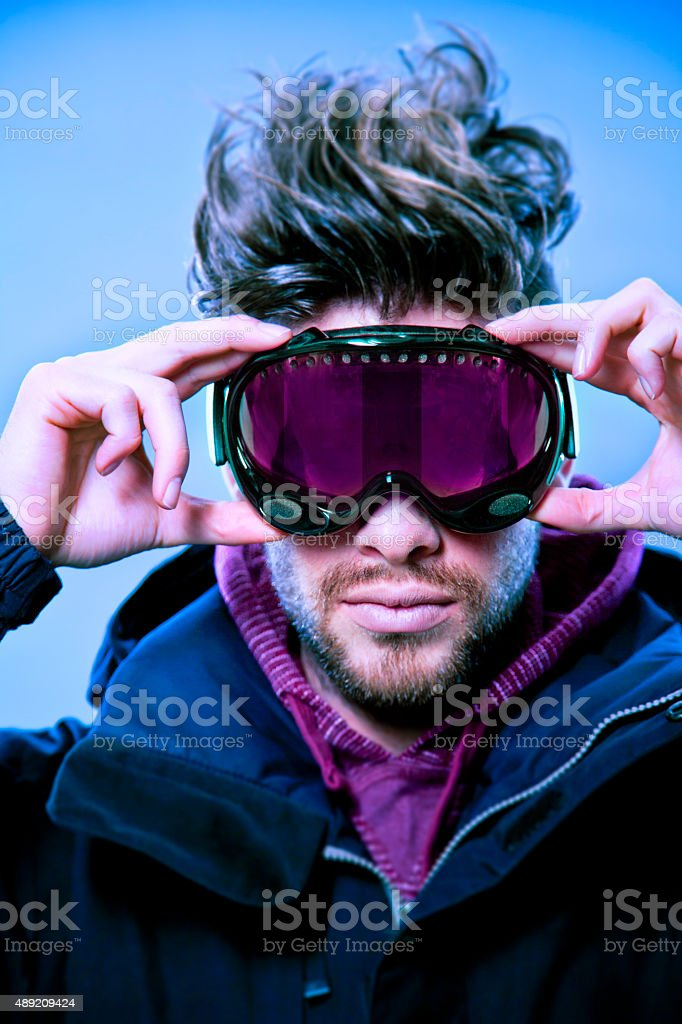 Closeup of Skier with Goggles stock photo