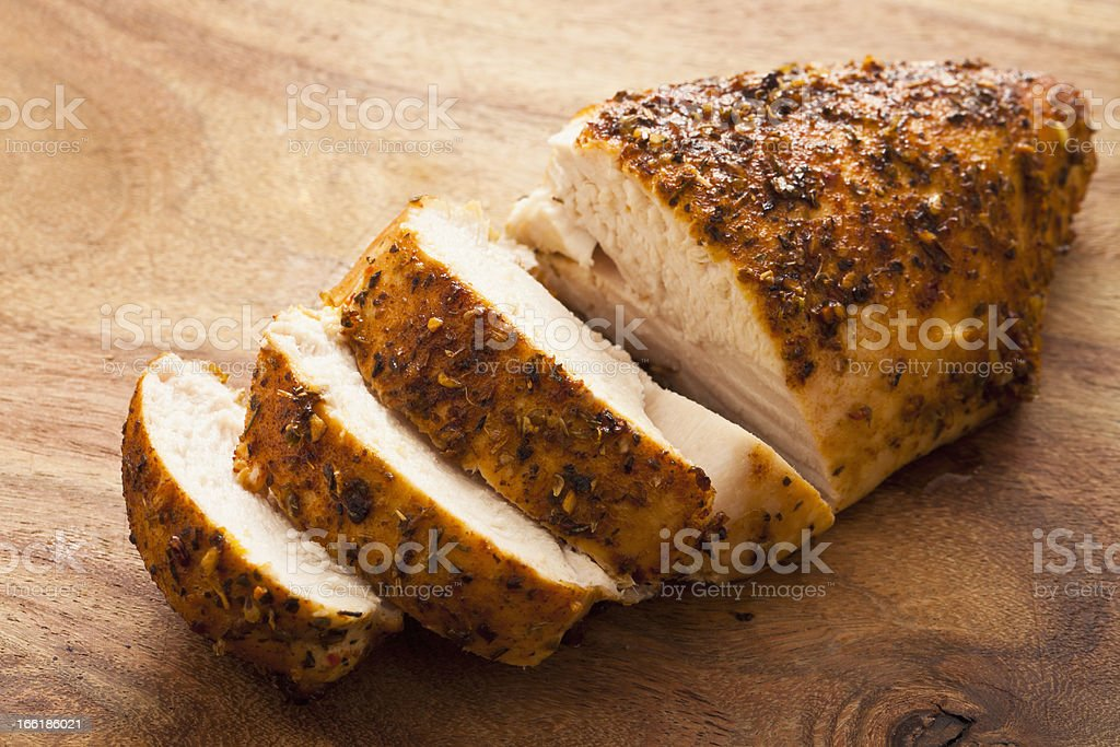 Close-up of sliced, grilled chicken breast stock photo