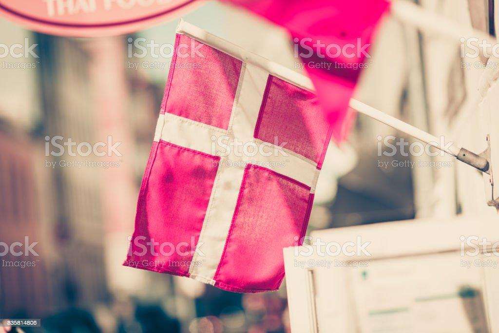 Closeup of small Denmark national flag stock photo