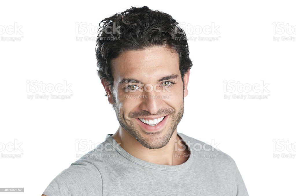 Close-up of smiling man on white background stock photo