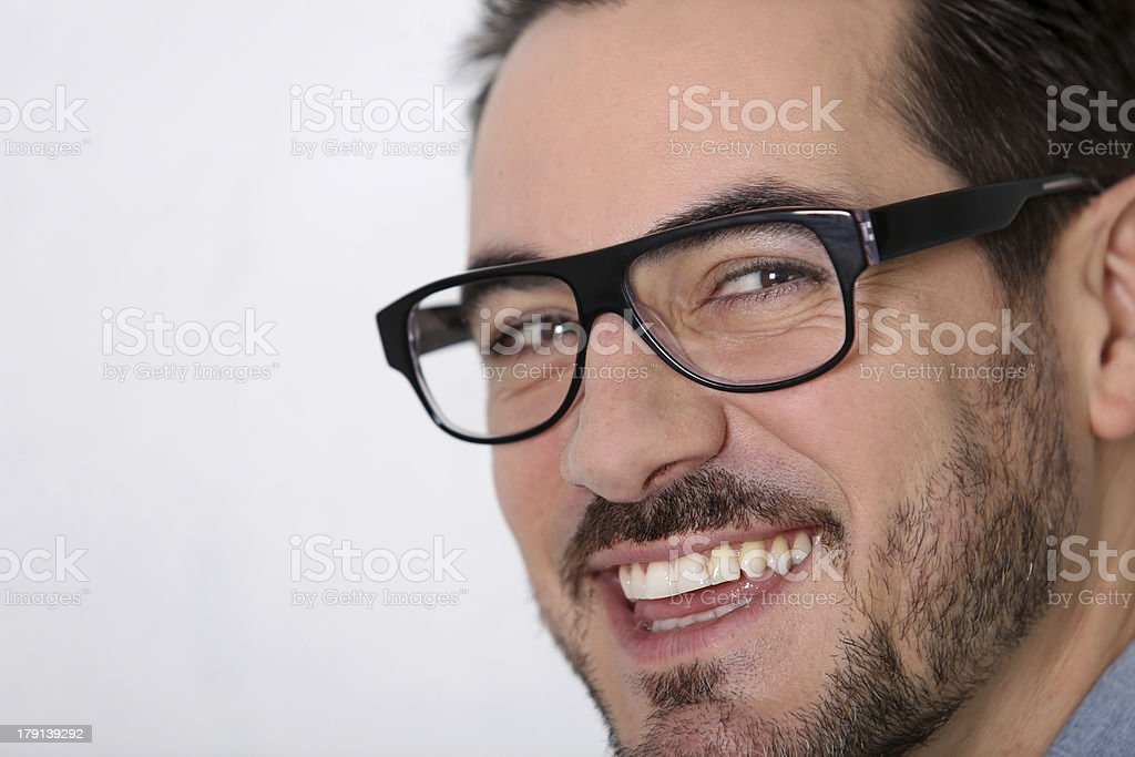 Closeup of smiling man with eyeglassses royalty-free stock photo