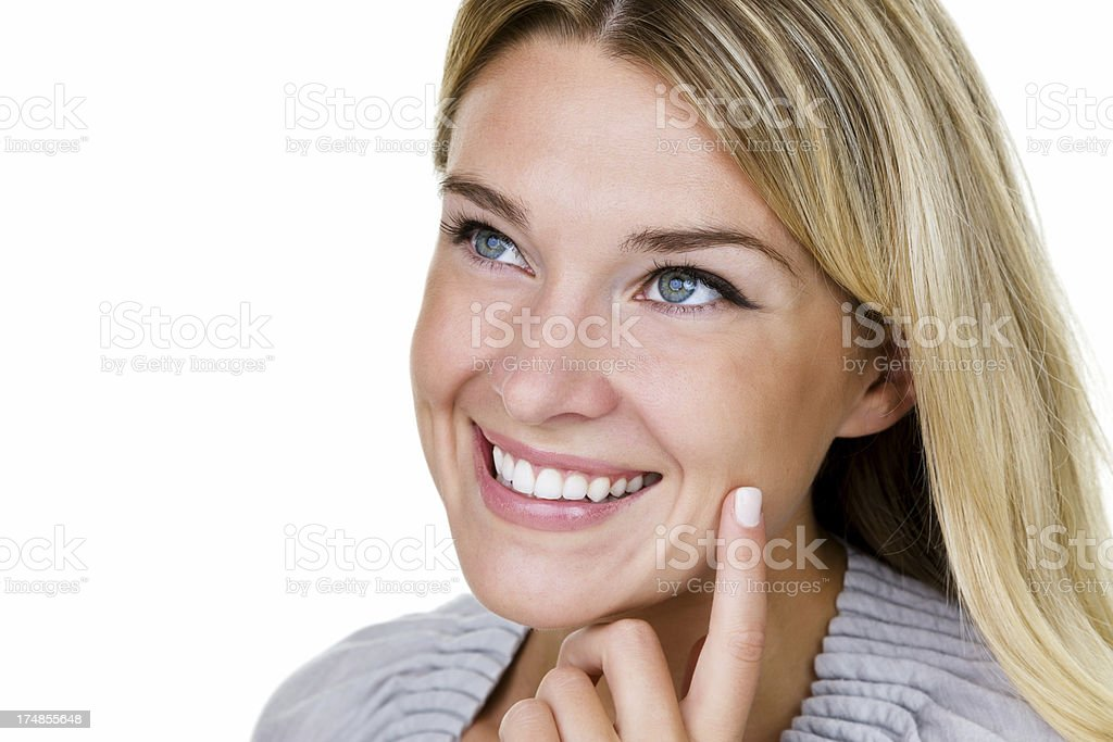 Closeup of smiling woman royalty-free stock photo