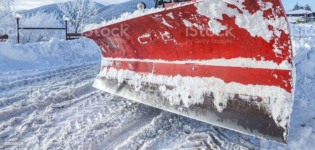 Closeup of snow plough paddle stock photo