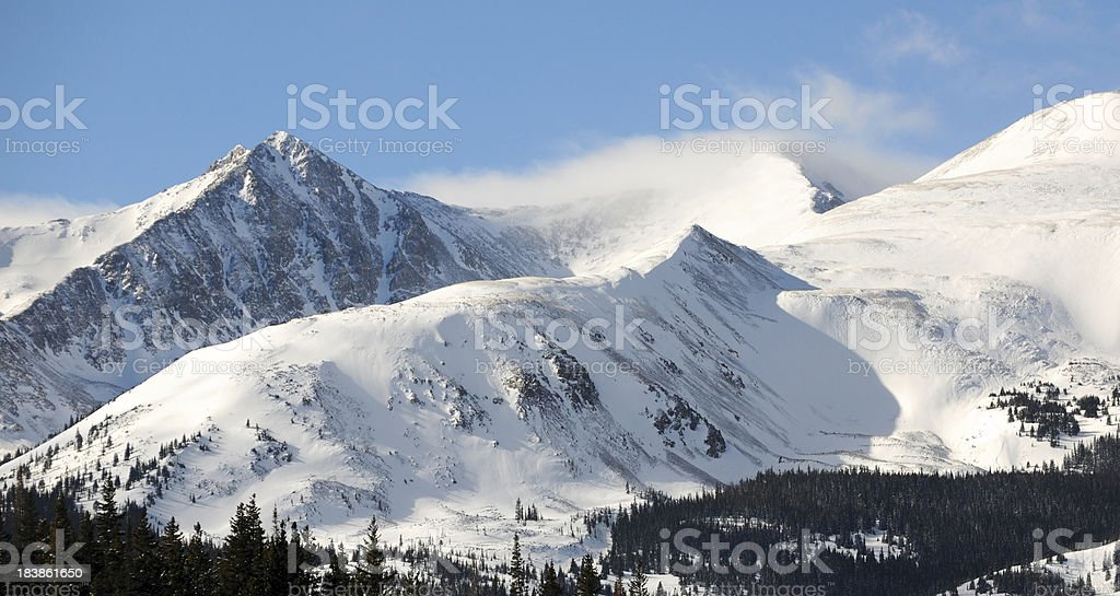 Close-Up of Snowy Mountain Range stock photo