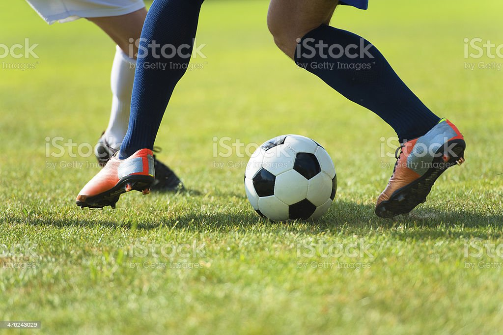 Close-up of soccer duell stock photo