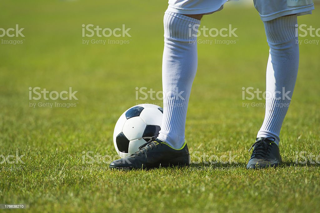 Close-up of soccer player stock photo
