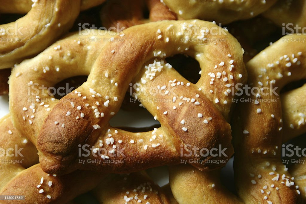 Close-up of soft pretzels with salt stock photo