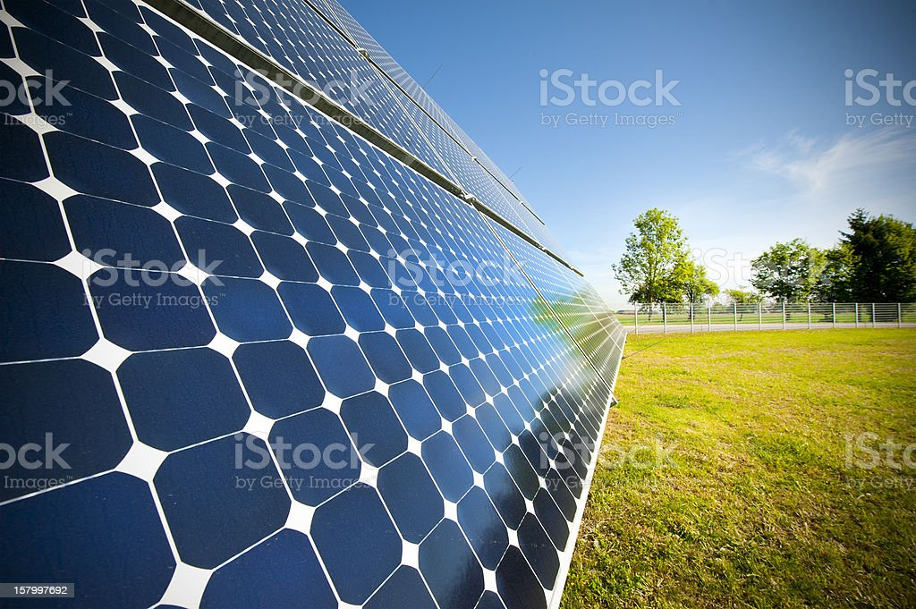 Close-up of solar panel outside on grass photovoltaic stock photo
