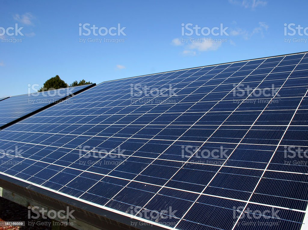 A close-up of solar panels outdoors stock photo