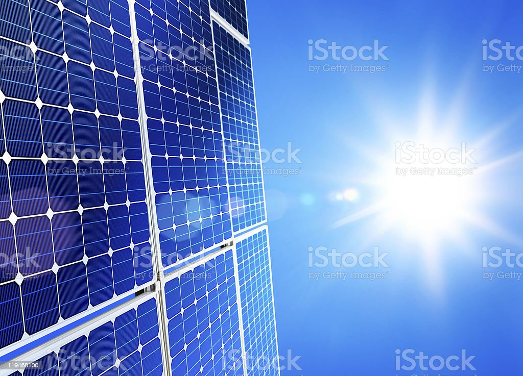 Close-up of solar power panels absorbing the sunlight royalty-free stock photo