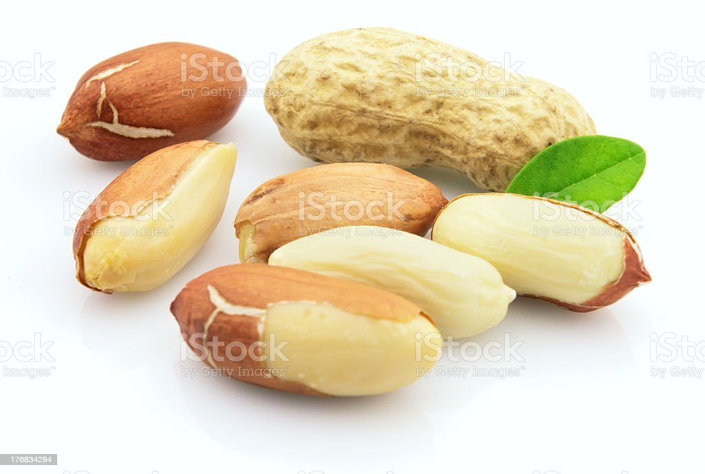 A close-up of some peanuts at various stages royalty-free stock photo