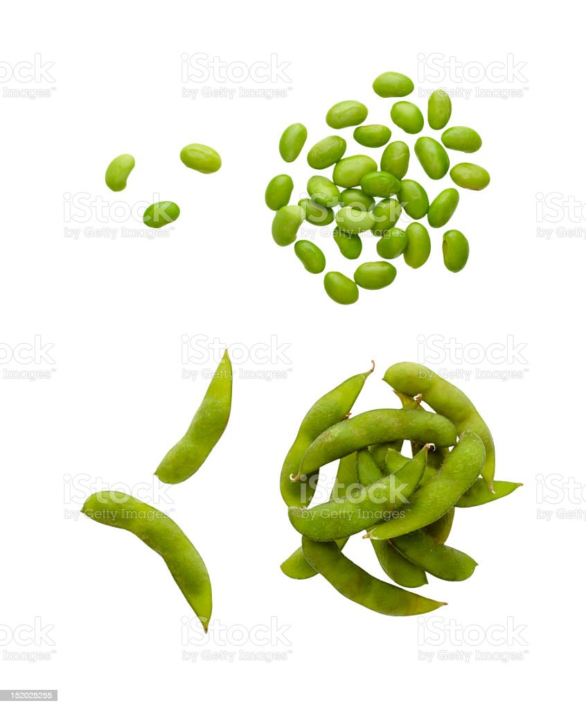 Close-up of soybeans against white background stock photo