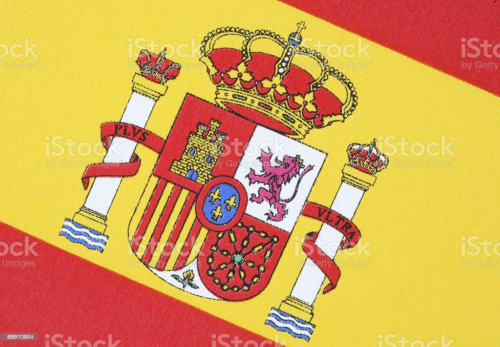Close-up of Spanish National Flag royalty-free stock photo