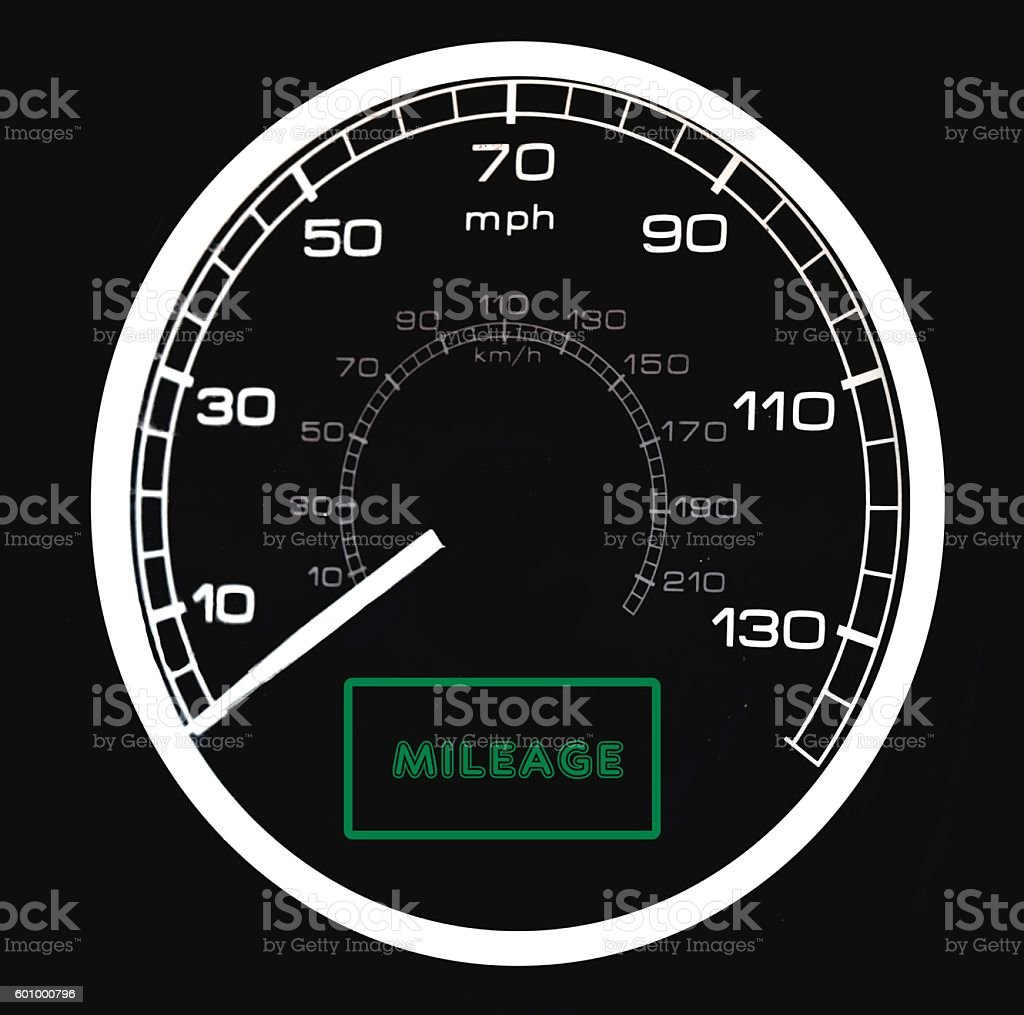 Closeup of Speedometer on Car Dashboard stock photo