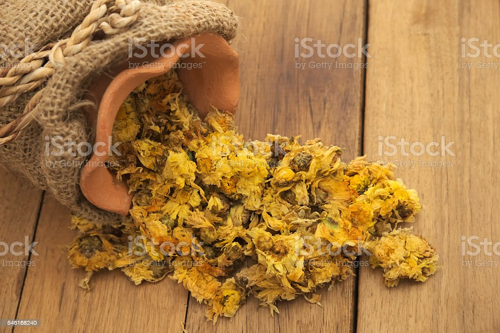 Closeup of Spilled dried Crysanthemum flowers stock photo