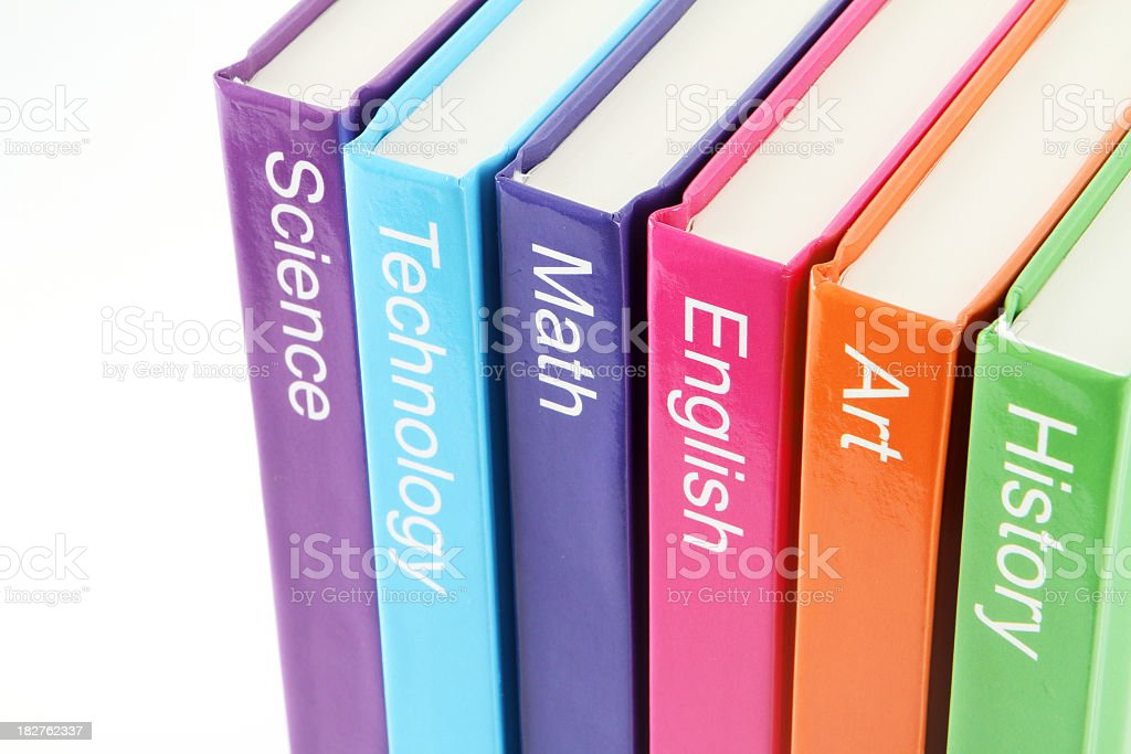 Close-up of spines of labeled text books stock photo