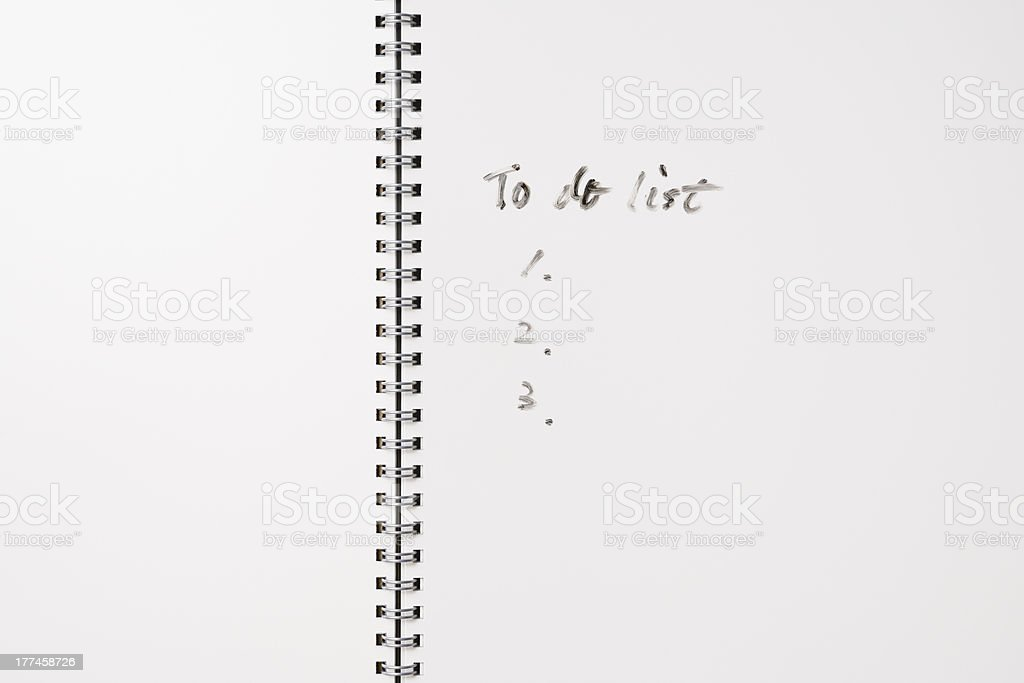 Close-up of spiral notebook with To Do List royalty-free stock photo