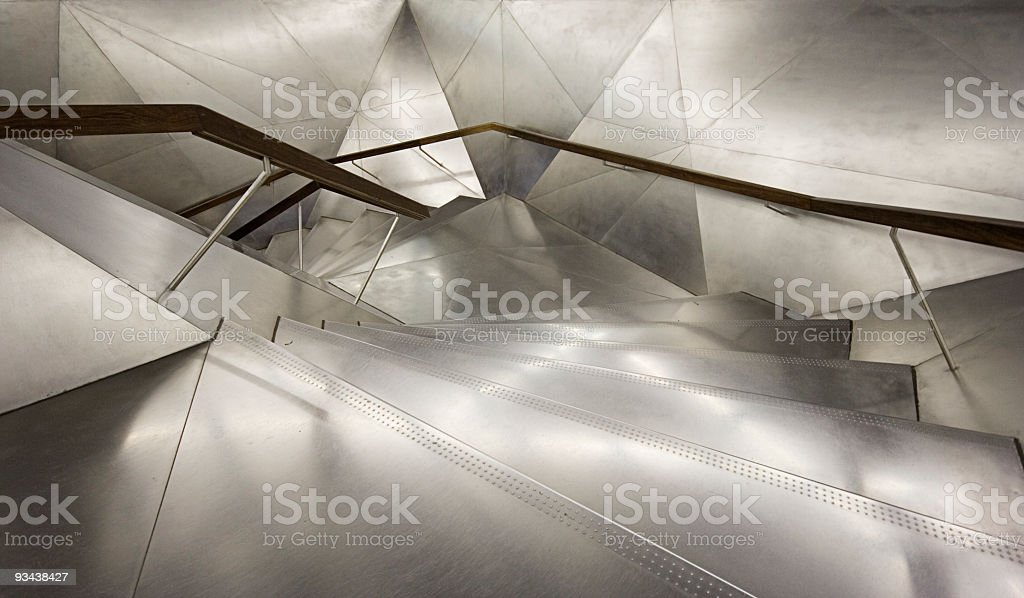 Close-up of spiral staircase with lighting stock photo