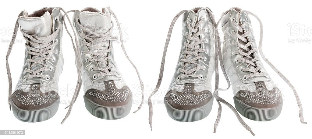 Close-up of sports silver sneakers stock photo