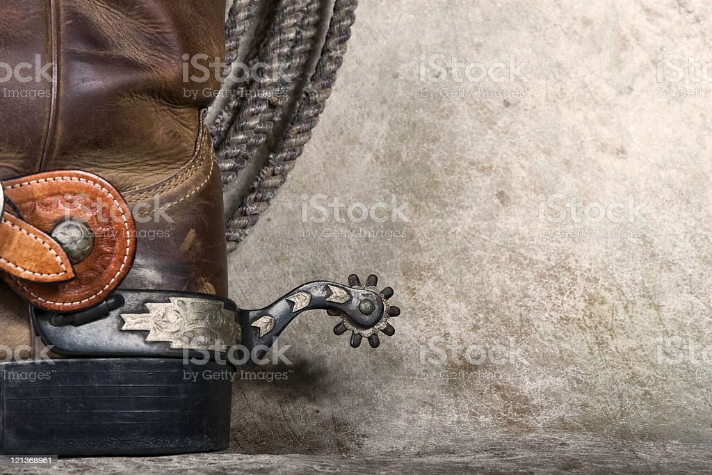 Close-up of spur on back of cowboy boot royalty-free stock photo