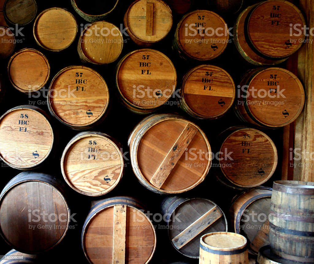 Close-up of stacks and piles of wine barrels royalty-free stock photo
