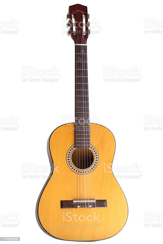 Close-up of standard acoustic guitar stock photo