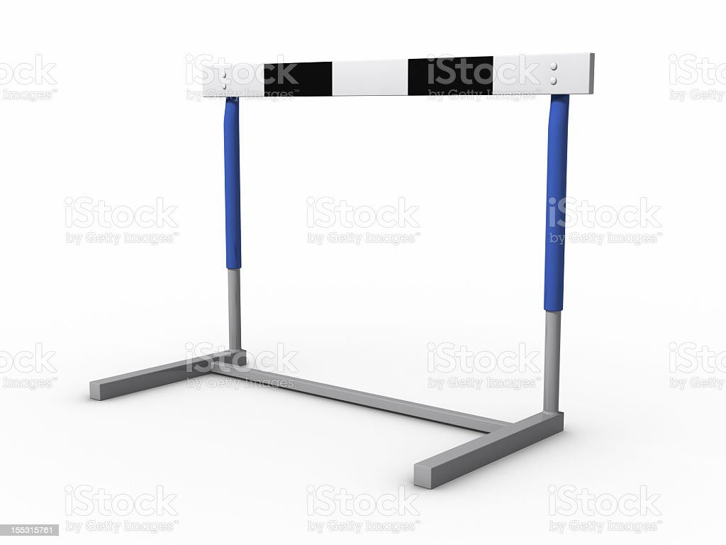 Close-up of standard hurdle with black, white and blue frame stock photo