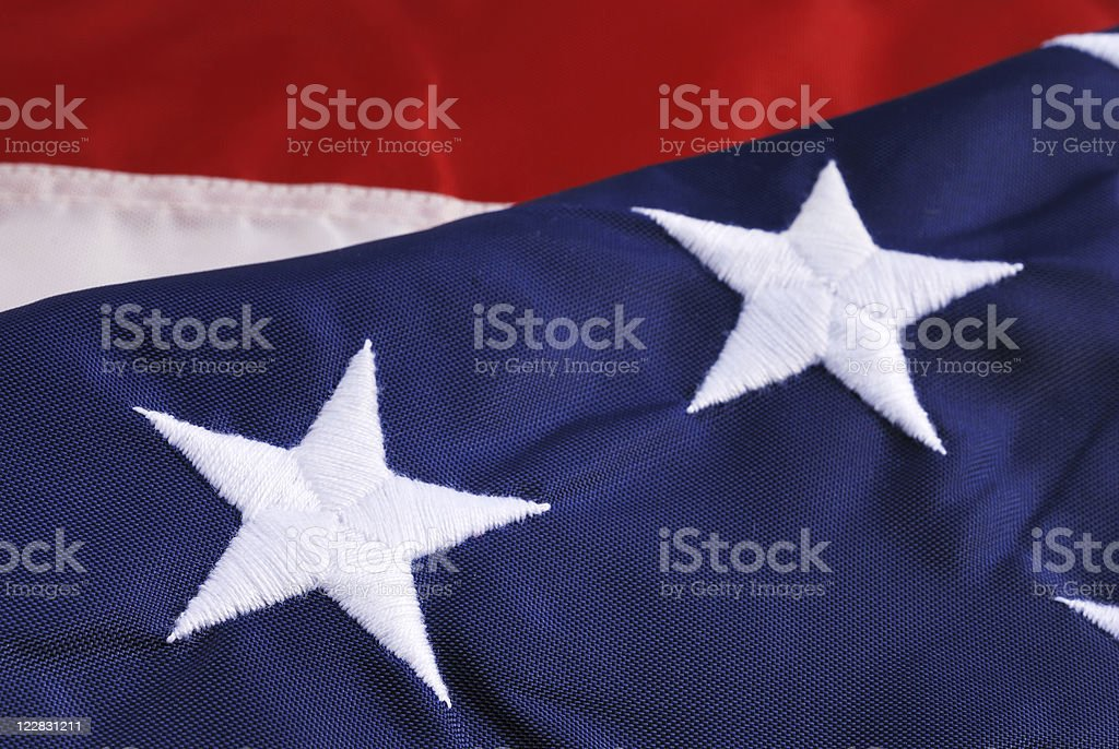 Closeup of stars on American flag royalty-free stock photo