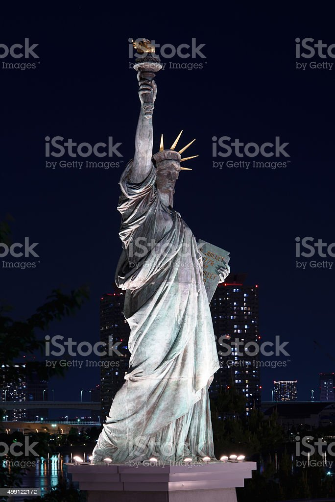 Close-up of Statue of Liberty Replica in Odaiba, Japan stock photo