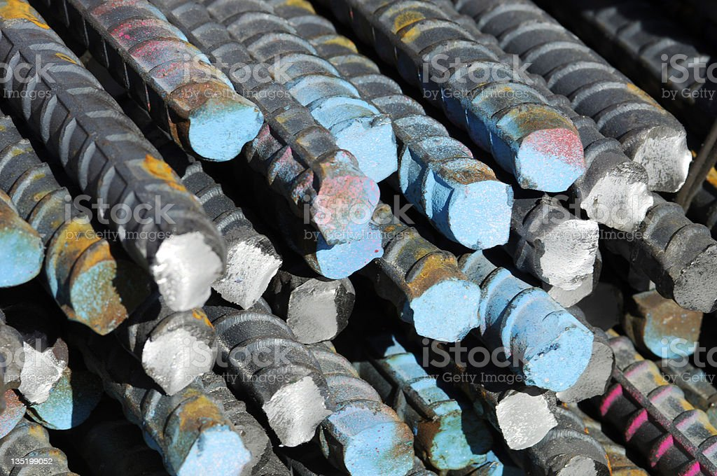 close-up of steel bars of rods stock photo