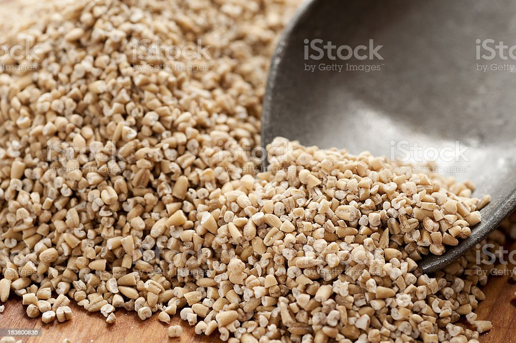 Close-up of Steel Cut Oats and Scoop stock photo