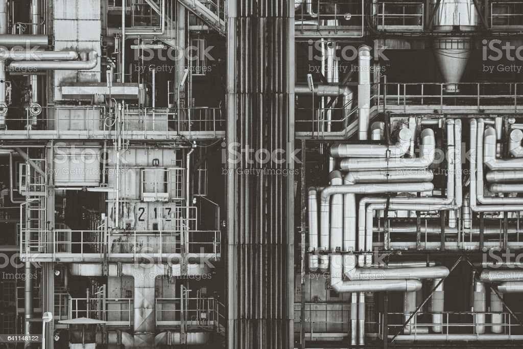 Close-up of Steel pipeline and iron infrastruction stock photo