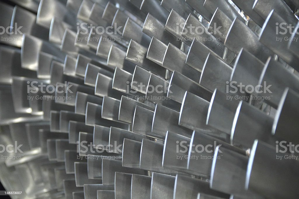 Close-up of steel turbine blades royalty-free stock photo