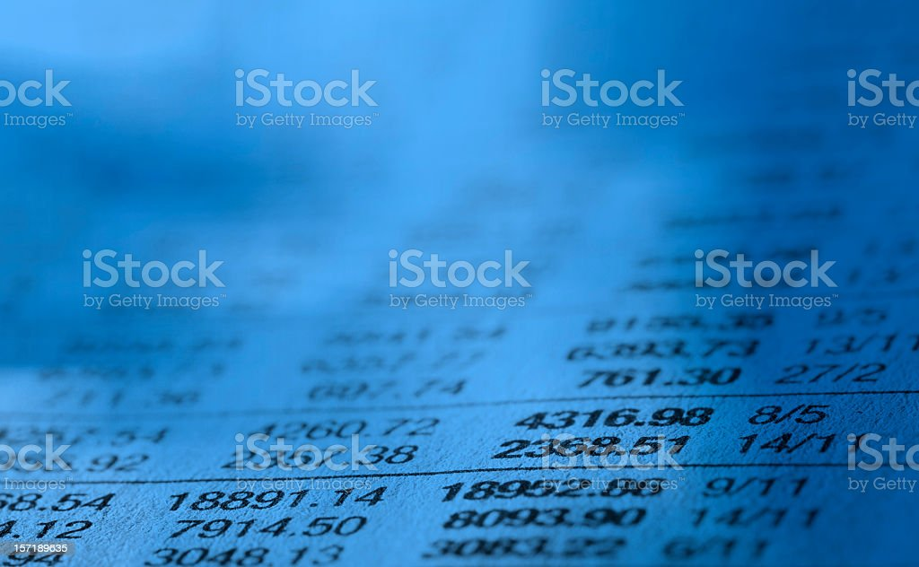 Close-up of stock market data list stock photo