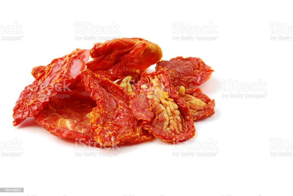 Close-up of sun red sun dried tomatoes with seeds royalty-free stock photo