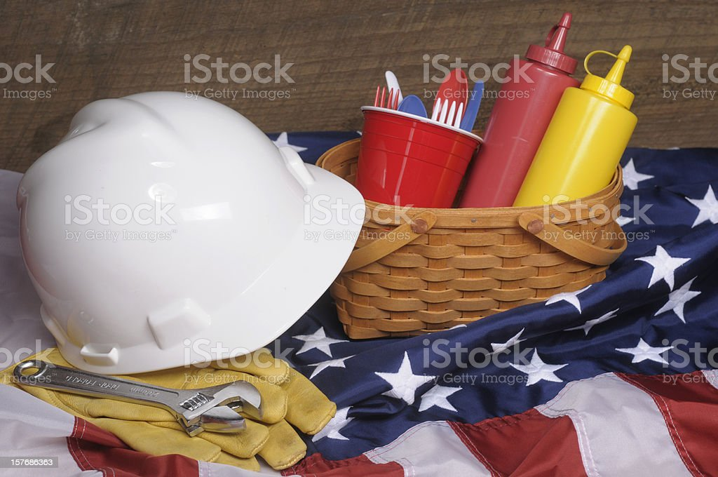 Close-up of supplies for a Labor Day Picnic stock photo