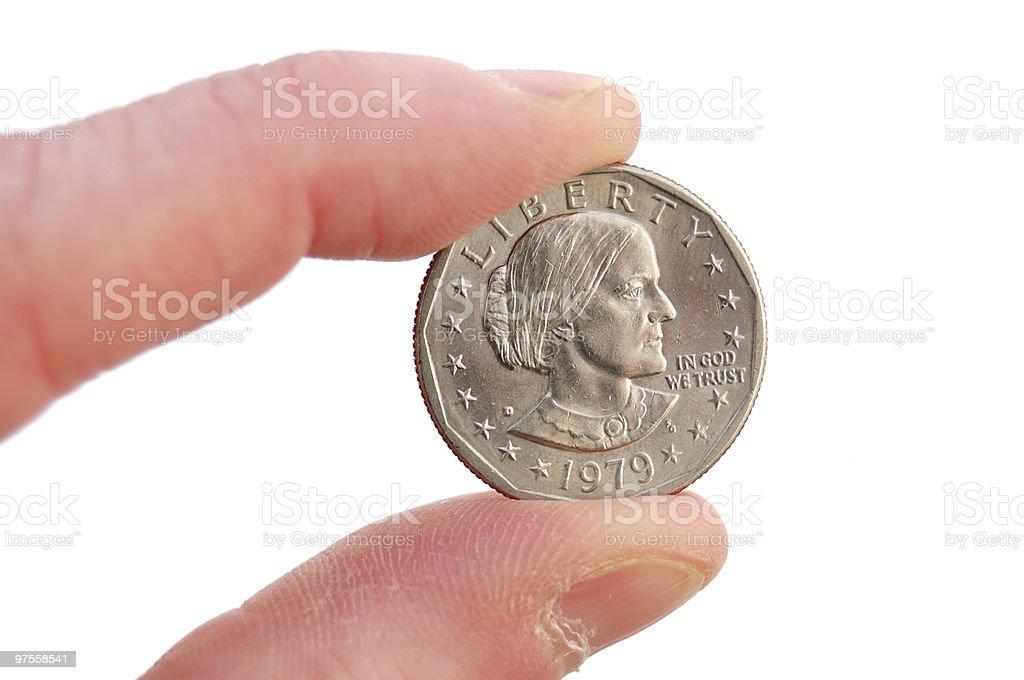 Close-up of Susan B. Anthony Dollar stock photo