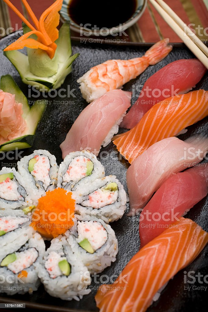 Close-up of sushi in California rolls stock photo